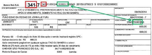 exemplo de boleto emetido pelo Banco Itaú